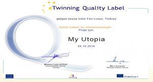 My Utopia eTwinning Projesi Kalite Etiketi Aldı